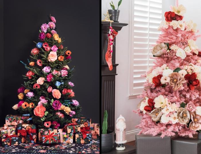 diy-fleur-en-papier-art-origami-facile-deco-sapin-noel-floral-cadeau-emballage-papier-motifs-fleuris-ruban-rouge-sapin-rose-fleurs-artificielles